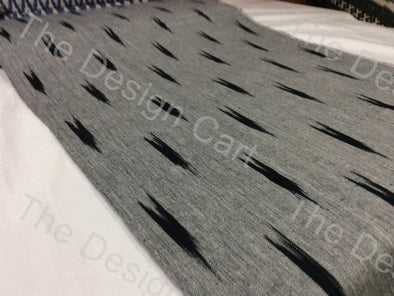 Grey Black Down Arrow Design Cotton Ikat Fabric