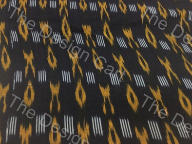 Black Yellow Criss Cross Design Cotton Ikat Fabric