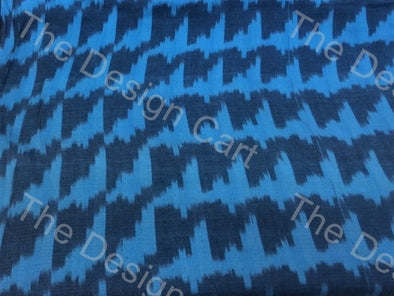 Blue Pixelated Wave Design Cotton Ikat Fabric