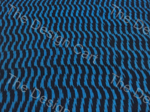 Blue Black Vertical Waves Design Cotton Ikat Fabric