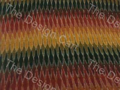 Multicolour Mixing Waves Design Cotton Ikat Fabric