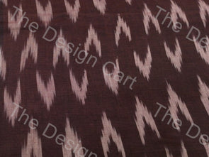 Brown White Up & Down Arrow Design Cotton Ikat Fabric
