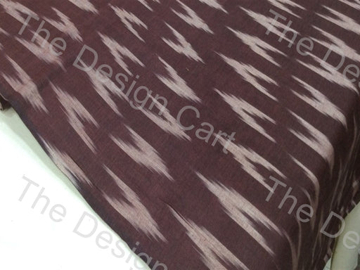 Brown White Up & Down Arrow Design Cotton Ikat Fabric - The Design Cart