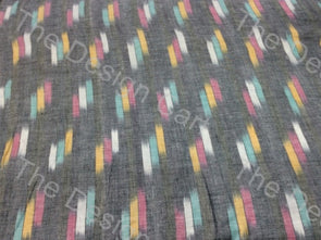 Multicolour Gray 3 Dash Design Cotton Ikat Fabric
