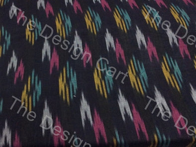 Black Multicolour Double Arrow Design Cotton Ikat Fabric