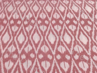 Baby Pink White Filled Hives Design Cotton Ikat Fabric