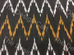Black Yellow Zig-Zag Design Cotton Ikat Fabric - The Design Cart