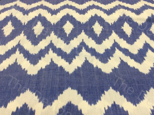 Cream / Off White Blue Waved Eye Design Cotton Double Ikat Fabric