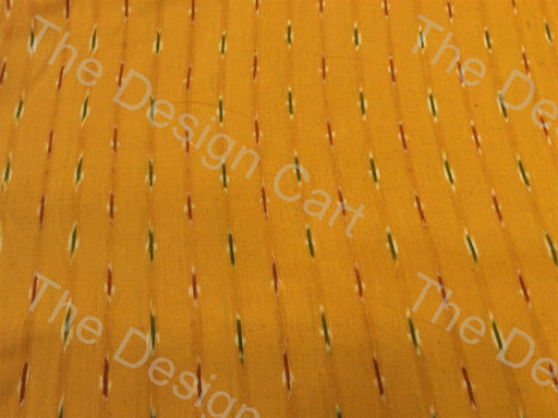 Yellow Colorful Small Lines Design Cotton Ikat Fabric - The Design Cart