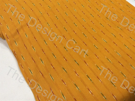 Yellow Colorful Small Lines Design Cotton Ikat Fabric