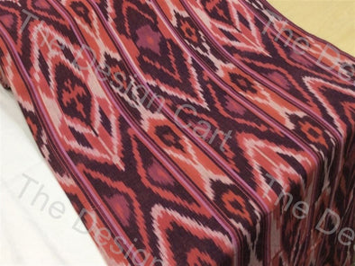 Black Maroon Multi Design Cotton Ikat Fabric
