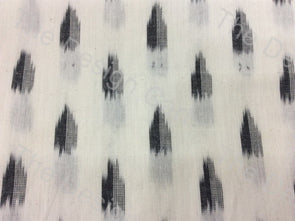 Black White Scattered Leaf Design Cotton Ikat Fabric