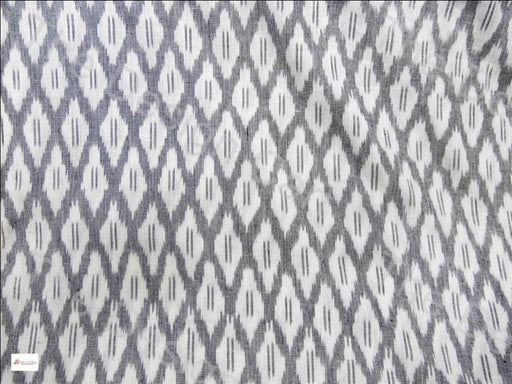 Gray White Coral Design Cotton Ikat Fabric