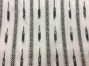 Black White Spark Design Cotton Ikat Fabric