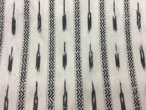 Black White Spark Design Cotton Ikat Fabric (598597861410)