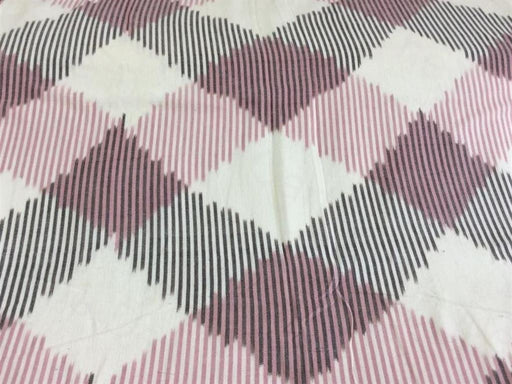 White Pink Black Cotton Ikat Fabric