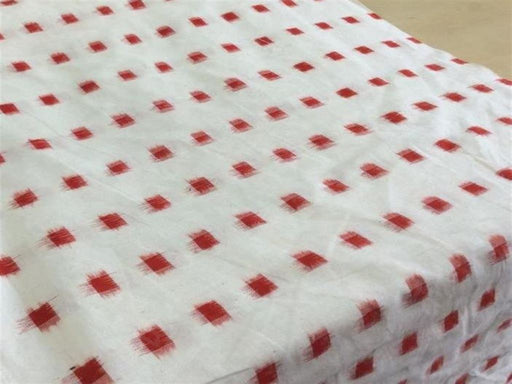 White Red Cotton Ikat Fabric