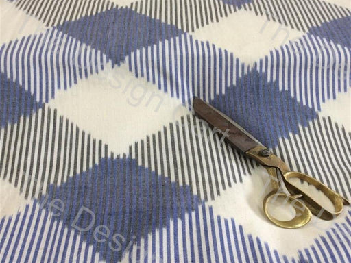 Gray White Shredded Check Design Cotton Ikat Fabric