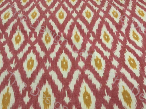 Maroon Yellow Crossing Hives Design Cotton Ikat Fabric
