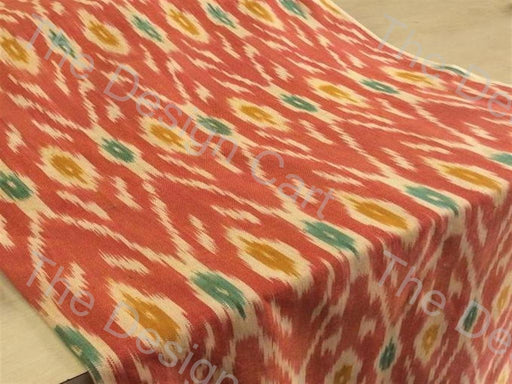 Green Orange Yellow Flower Centre Design Cotton Ikat Fabric