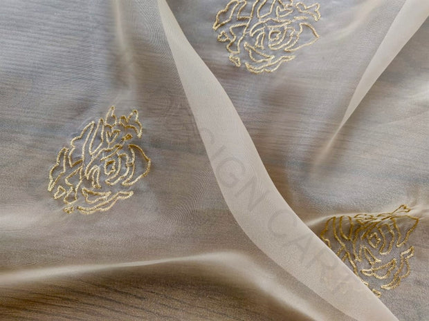 White Golden Floral Embroidered Organza Fabric | The Design Cart