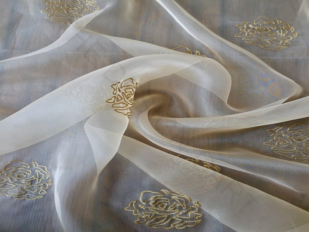 White Golden Floral Embroidered Organza Fabric | The Design Cart (3775088394274)