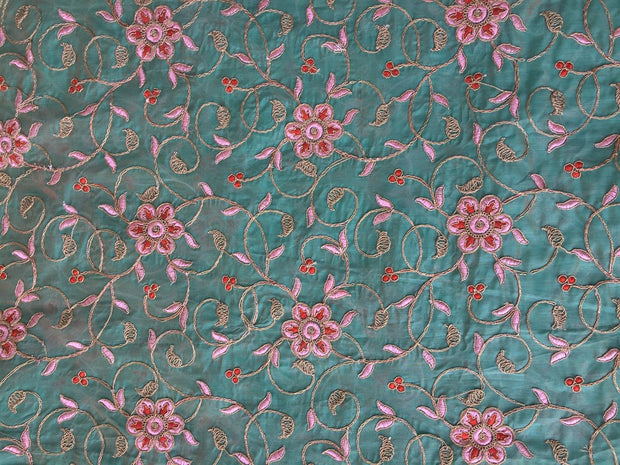 Blue Floral Embroidered Chanderi Fabric | The Design Cart