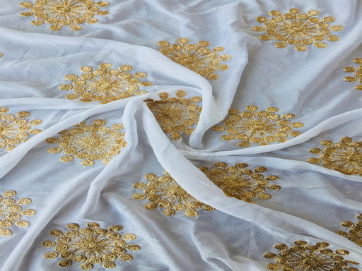 White Sequins Work Chinon Fabric