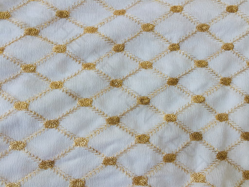 White Geometric Sequins Work Chinon Fabric