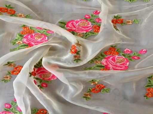 White Pink Floral Organza Fabric