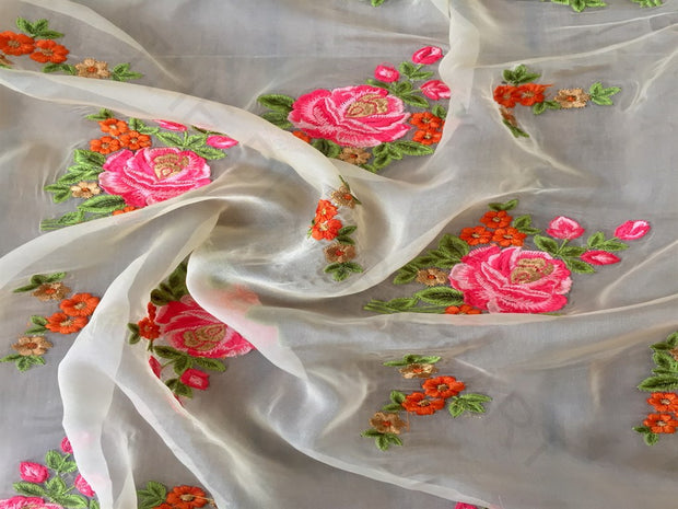 White Pink Floral Organza Fabric | The Design Cart