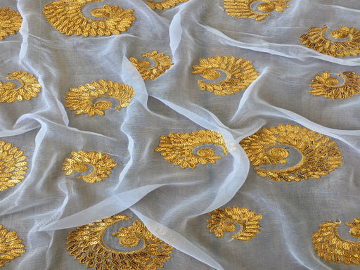 White Golden Buta Dyeable Chiffon Fabric