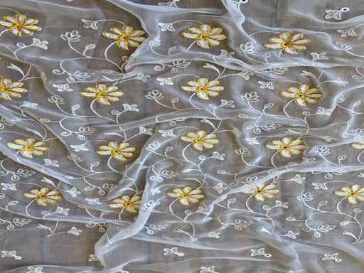 White Golden Embroidered Chiffon Fabric