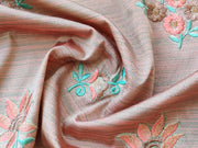 Peach Gray Turquoise Flowers Bamboo Silk Fabric | The Design Cart (3861188444194)