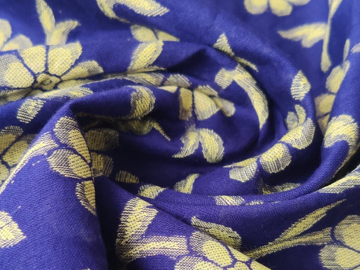 Blue Yellow Flowers Cotton Jacquard Fabric