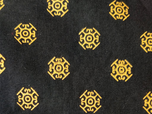 Black Golden Floral Dots Rayon Fabric