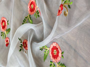 White Red Floral Embroidered Organza Fabric | The Design Cart