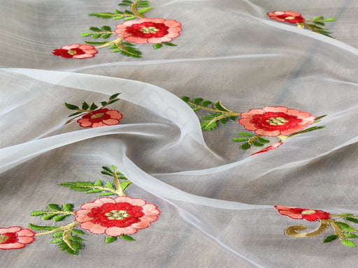 White Red Floral Embroidered Organza Fabric