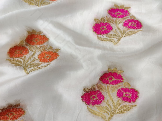 White Dyeable Multicolour Flowers Uppada Silk Fabric | The Design Cart (4164495540293)