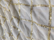 White Sequins Work Dyeable Chiffon Fabric | The Design Cart