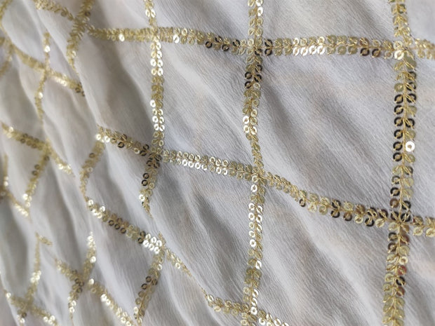 White Sequins Work Dyeable Chiffon Fabric | The Design Cart (4164495671365)
