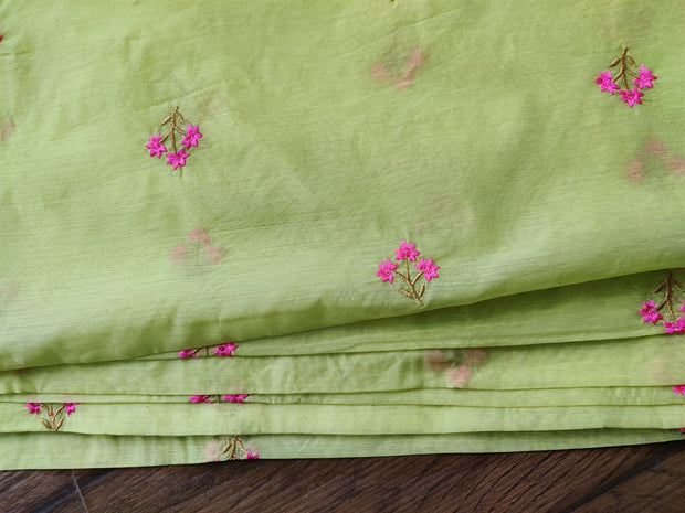 Green Floral Embroidered Chanderi Fabric | The Design Cart (4164496228421)