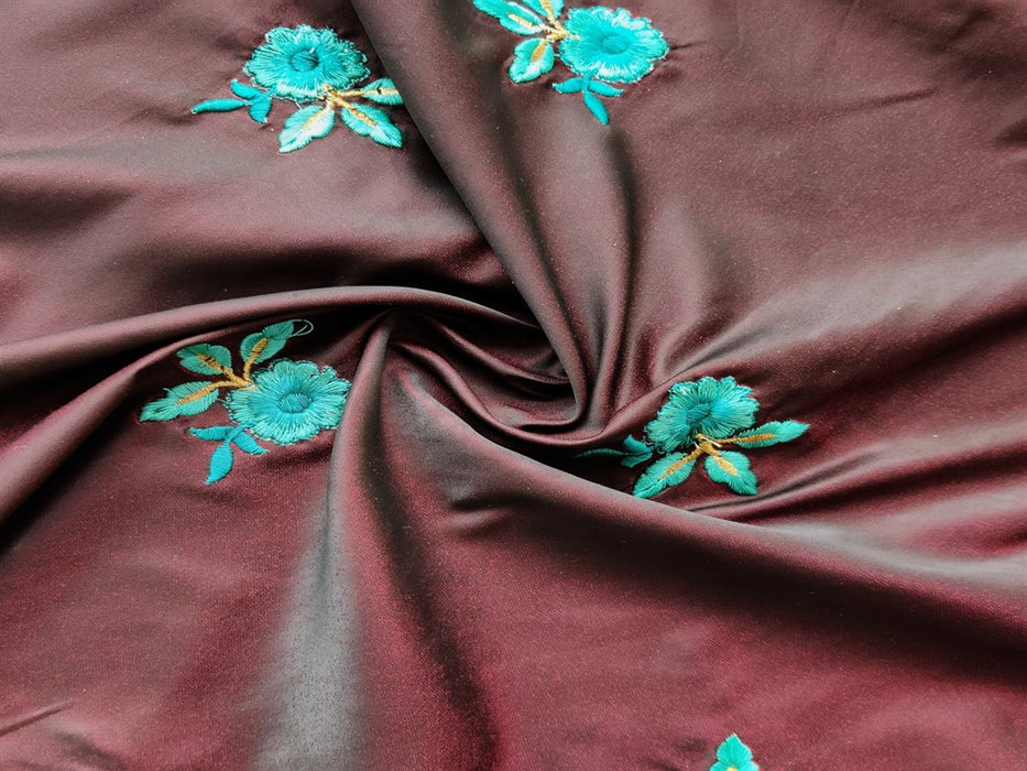 Maroon Floral Embroidered Soft Taffeta Silk Fabric