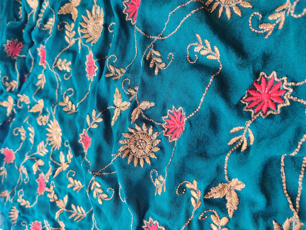 Bottle Green Embroidered Chinon Chiffon Fabric | The Design Cart (4325020401733)