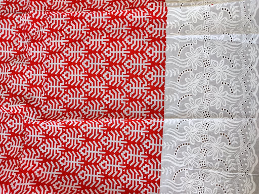 Red White Abstract Cotton Fabric With Embroidered Border