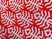Red White Abstract Cotton Fabric With Embroidered Border | The Design Cart (4338830377029)