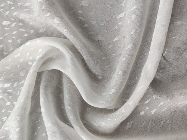 White Self Print Dyeable Crepe Satin Jacquard Fabric | The Design Cart