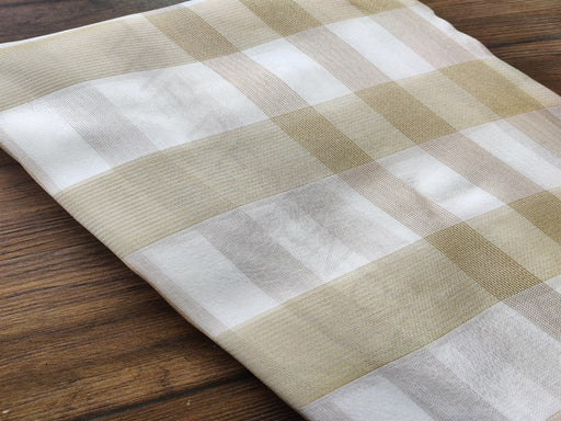 White Golden Checks Dyeable Jute Fabric