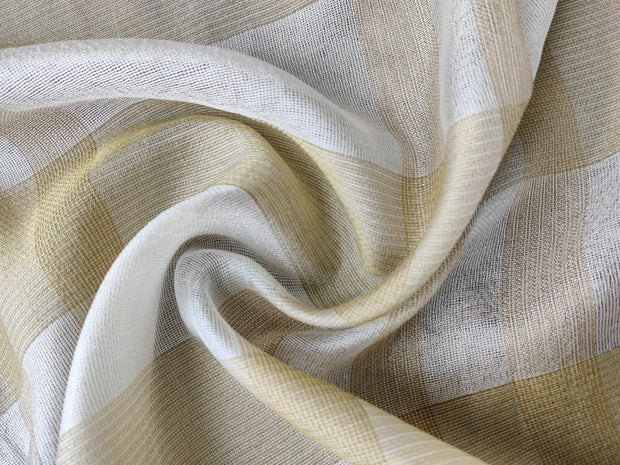 White Golden Checks Dyeable Jute Fabric | The Design Cart