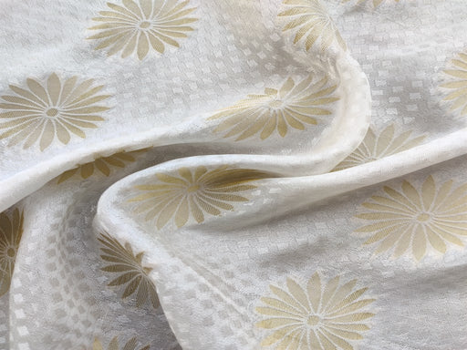 White Floral Dyeable Jacquard Fabric